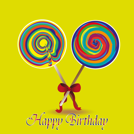 big size: Happy birthday vector illustration Drawing on his birthday two lollipop with a bow and a congratulation on a yellow background Illustration