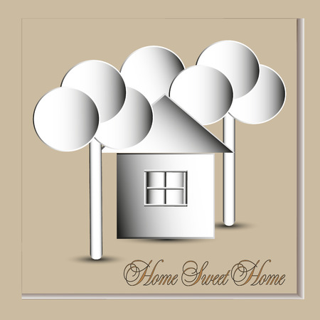 bldg: Home sweet home vector illustration Image home sweet home in the style of the paper circle below the trees and a bldg with window