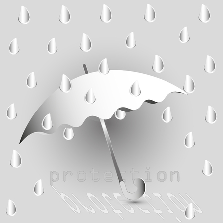 damp: Vector illustration rain of paper Drawing rain of paper large umbrella protection from damp and wet are many drop around the image on the gray background