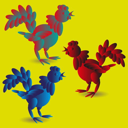 Set of three toy rooster Vector illustration of a set of three bright toy cock on a yellow background for decoration and design Illustration