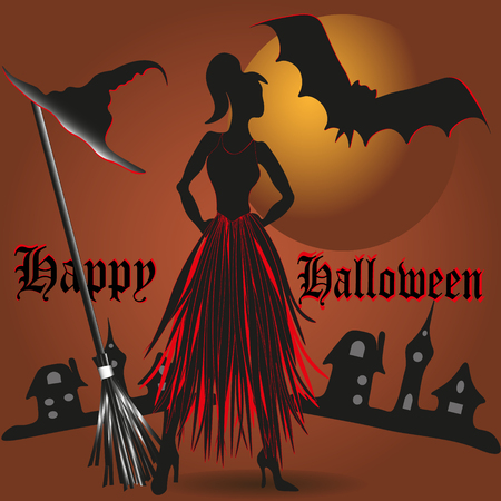 big size: Vector illustration Happy Halloween Image of happy Halloween against the backdrop of the city and the moon is of modern, young witch and her friend a bat located near the broom and hat