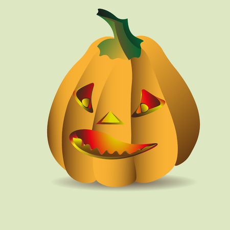 triangular eyes: Halloween big pumpkin vector illustration Image isolated Halloween pumpkin with a large fire in a vegetable triangular eyes and nose Illustration