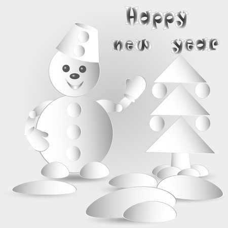 image size: Drawing Snowman and Christmas tree Vector illustration of snowman and paper Christmas fir tree with balls and snowdrift with new year greetings