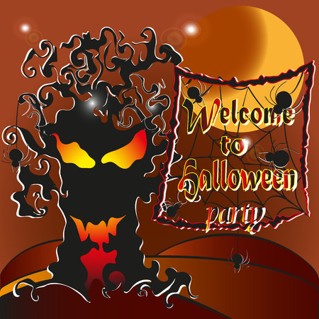 feast: Vector illustration -Welcome to the Halloween party Drawing on brown background welcome to the Halloween party, ghost tree light inside the spider and the web, and an invitation to the feast Illustration