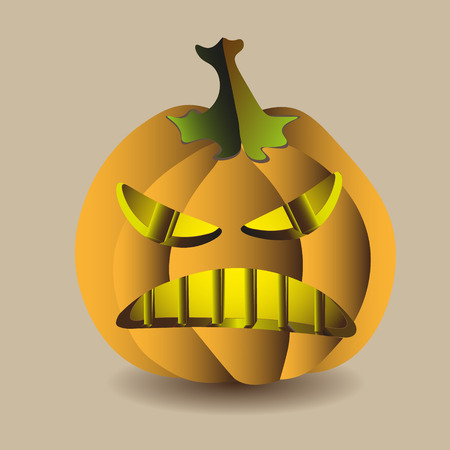 Halloween pumpkin angry isolated image Vector illustration of halloween pumpkin angry on a light background with a shadow for holiday design