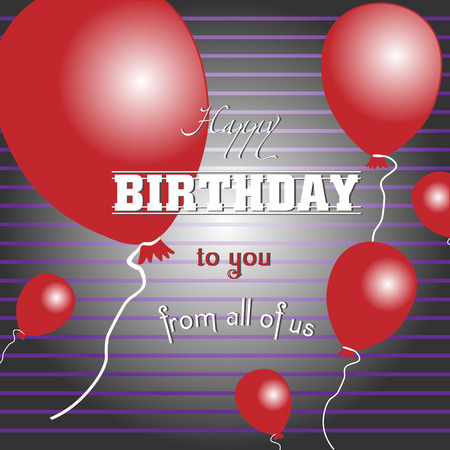 voluminous: Happy birthday to you with red balloons Card happy birthday striped with red voluminous balls for design Illustration