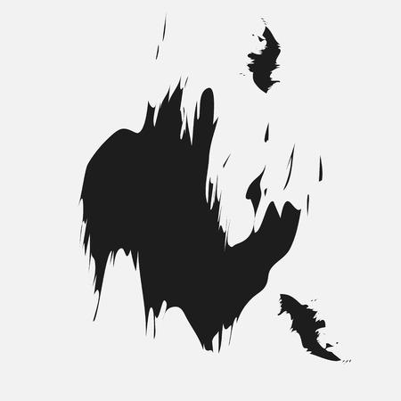 Inkt zwarte vlek ontwerp Zwarte vlek van inkt als een klodder in het midden van een wit blad voor ontwerp