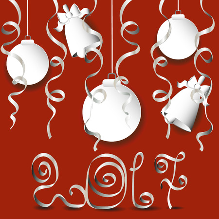 paper ball: Vector illustration 2017 greeting card Drawing a red background with a greeting the new year in the merged application of the white paper, ball and bell decorated serpanin Illustration
