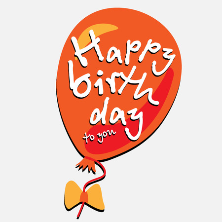 happy birth day: Balloon happy birth day red decorative ball with the words happy birthday on a light background with a lace and bow