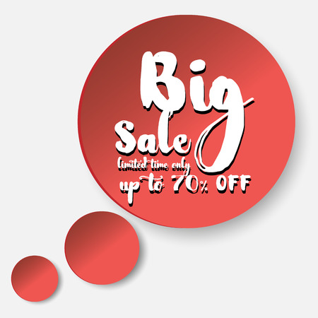 buble: Big sale in red buble big sale sign in red surround a circle on a white background in the form of thoughts Illustration