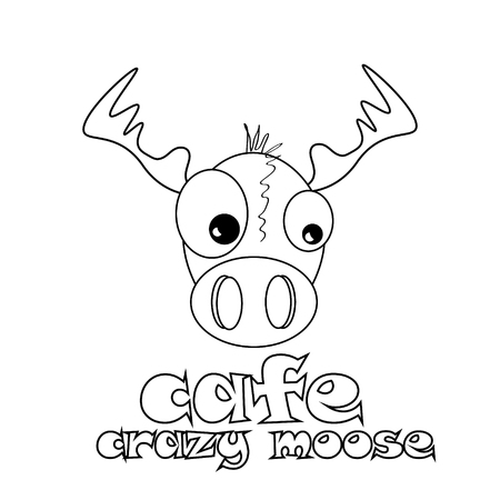 caf: Caf? crazy moose abstract vector design template of cafe funny mad elk on a white background