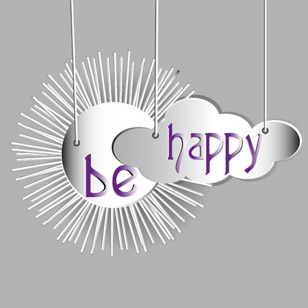 image size: Greeting abstraction be happy Drawing design style applique white paper on a string of sun and clouds background