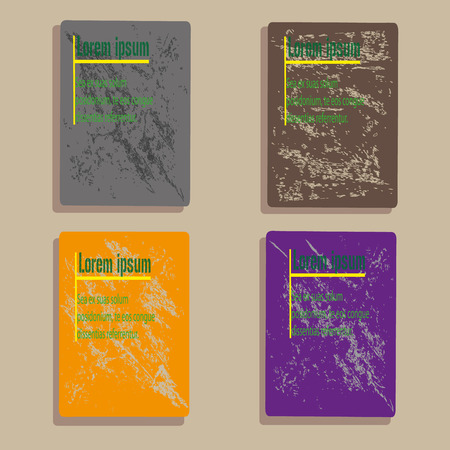 A set of four flyer or cover book Vector illustration design set with the effect of a shabby stone pattern background