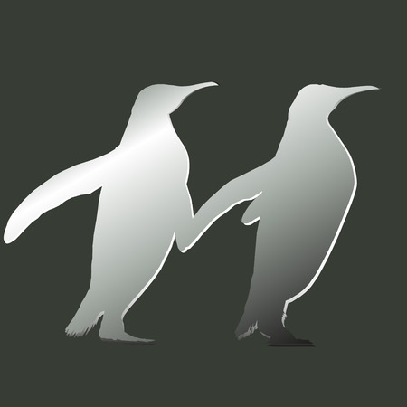 go forward: One pair of penguin Design abstract drawing style applique contour image two birds go forward together vector illustration Illustration