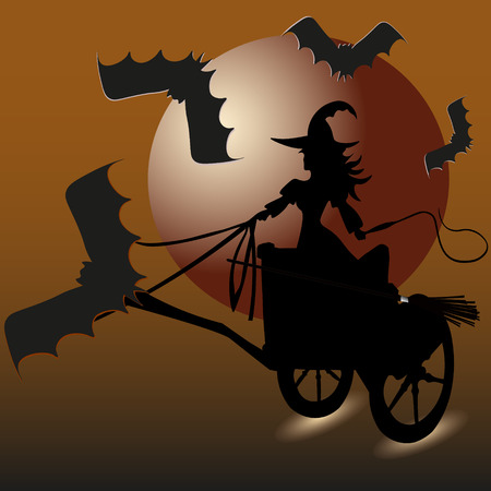 moon shadow: Witch and bats picture invitation Holiday Halloween abstraction Sorceress chariot to fly to whip hand four vampire escort large moon shadow of the background vector illustration