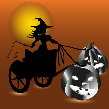Witch and two pumpkin invitation Abstract halloween Bookcover of or card style silhouette sketch Enchantress rides on a cart in hand whip two vegetable chariot driven by the moon shining night vector illustration Illustration