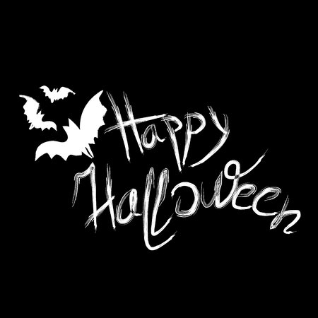 volatile: Bat and happy halloween large inscription Happy Halloween handwriting volatile mice on a black night background
