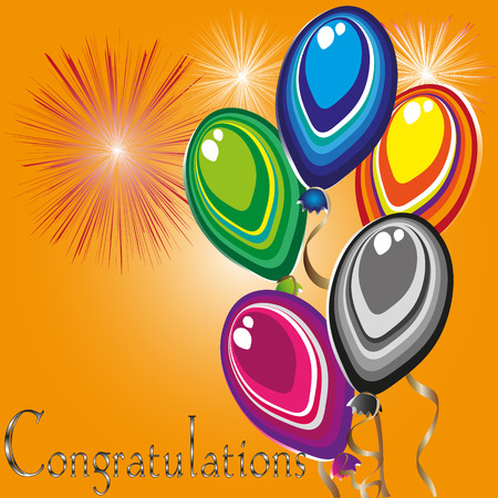 primitivism: Bright greeting card Congratulations Illustration
