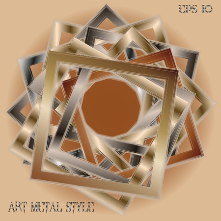 silver picture frame: Frame art metal style Abstract designer image many object square with sets effekt handmade work of the authors background