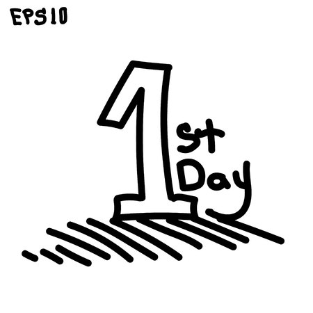 first day: first day in your life hand-drawn one and sign the first day of life vector illustration graphic black white