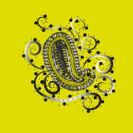 author: Mehendi pattern ethnic Designs Folk Art curls circle feather black and white drawing yellow background eps10 vector illustration stock handmade author work Illustration