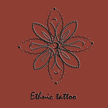 Ethnic ornament for tattoo Symmetric flower style pointillism month black high resolution petals point ornament Folk mehendi design author background text vector illustration eps10 stock