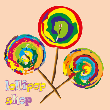 drawing large: Three bright lollipop Abstract watercolor style modernist sweetness on a stick colored drawing large size text vector illustration eps10 Stock