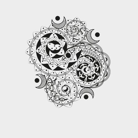 author: Asymmetric black ornament for tattoo Author handmade pattern style jib art curls moon dot design graphics black white gray background eps10 vector illustration Stock