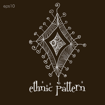 body painting: Ethno pattern rhombus white Design abstraction author Projects handmade tattoo henna for body painting line scribbles moon curl point text brown background eps10 vector illustration Stock