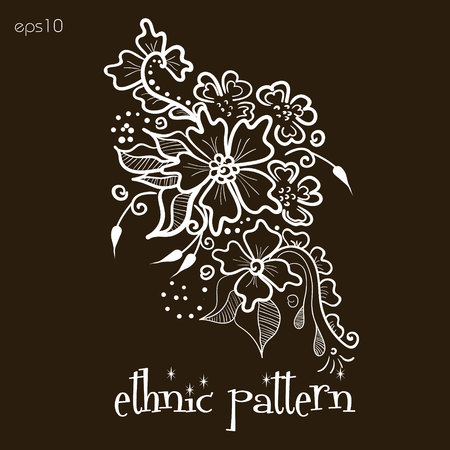 body painting: Floral ethnic pattern Abstract bouquet author handmade folk art design curl petal flower wreath tattoo henna painting on the body of the point bar pattern white text eps10 vector illustration Stock