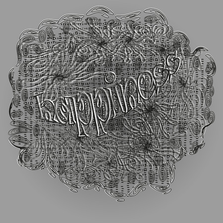 fashioned: Happiness graphic design Abstract author handmade cloth veil effect black white swirls pattern contour line fashioned dot doodle gray background eps10 vector illustration of the text Stock