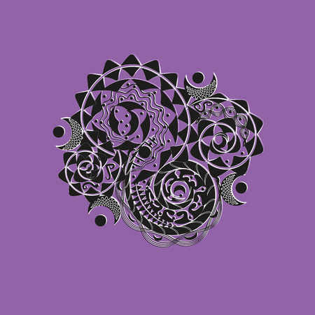 asymmetrical: Ornament black and white logo or tattoo Handmade author of design for the body or texture print point curl moon original projects circle lines violet background vector illustration eps10 stock Illustration