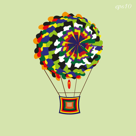 author: Patchwork aerostat image Abstract round object flying bright ball shreds and basket author handmade text vector illustration eps10 stock Illustration