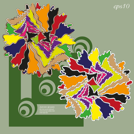 Patchwork Flower card or sign Picture abstraction design author handmade bright picture two bud otdetka geometry of circle and square eps10 text vector illustration Stock