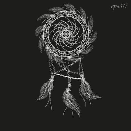 author: Dreamcatcher white drawing Abstraction decoration ritual magic feather woven twigs author dot handmade folk art flowers line circle vector illustration Stock