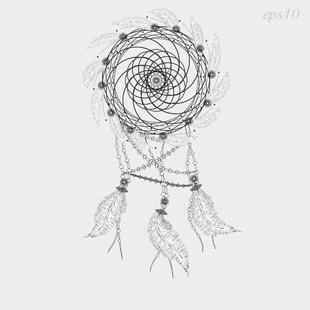 author: Dreamcatcher tattoo graphics Decoration ritual magic feather woven twigs author dot handmade folk art flowers line circle vector illustration Stock