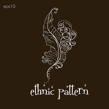 author: Ethnic pattern handmade feather Abstract decoration folk art style on body painting henna tattoo design author point curl a white pattern brown background text vector illustration Stock