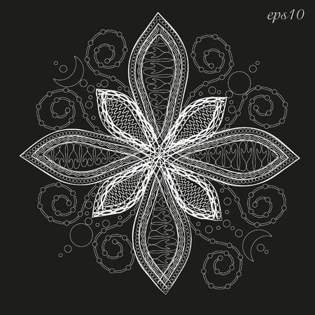 Mandala flower white Abstract decoration author design handmade petal eight happiness henna tattoo on the body point of pattern month  vector illustration Stock Illustration