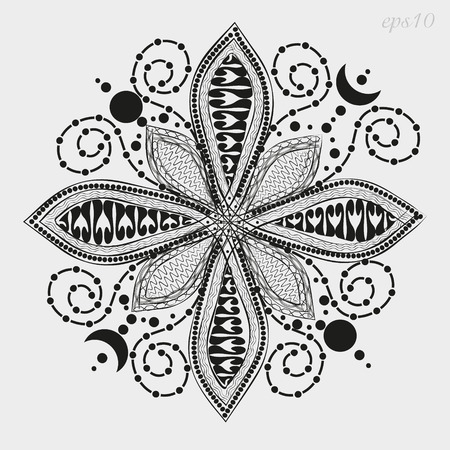 big size: Flower Mandala graphics Decoration author handmade petal eight happiness henna tattoo on the body point of pattern month vector illustration Stock Illustration