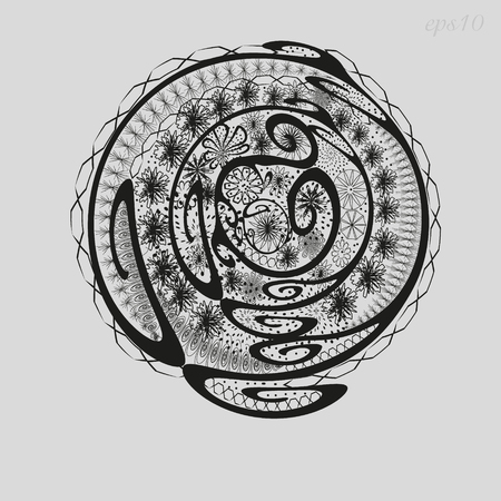 body painting: Abstract a flower bed of graphics Picture ornament author design decoration henna painting on the body skin logo circle curl flower petal point openwork pattern black eps10 Stock vector illustration