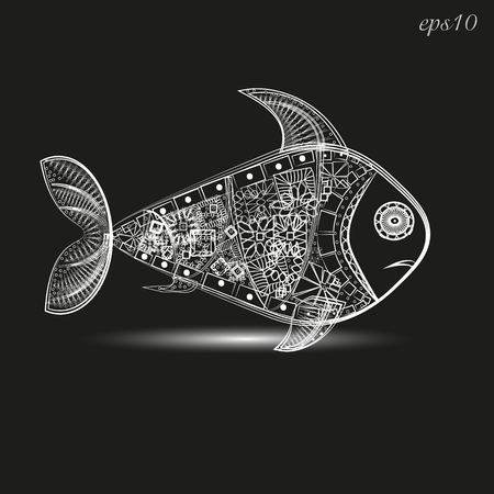 Fish pattern white graphic Abstract author design pattern under water tattoo decoration on body painted leather logo sign store interweaving eye point line fin shadow eps10 vector illustration Stock