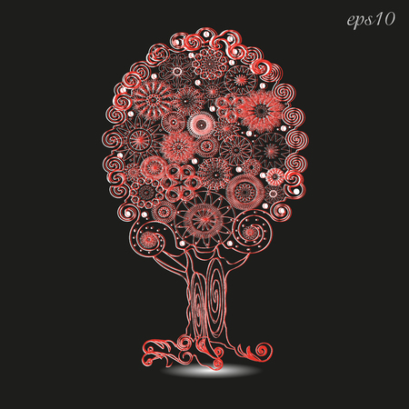 raices de plantas: El adorno del árbol de encaje hecho a mano por el diseño calado rojo raíces de las plantas tronco Krone flores modelo ornamento sombra insignia del bordado eps10 de vectores stock de ilustracion