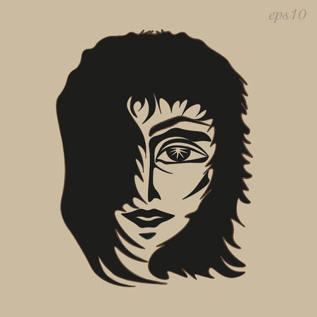 author: The mans face picture Author design head boy hair develop eye mouth nose sketch eyebrow contour fringe handmade abstract portrait Stock eps10 vector illustration Illustration