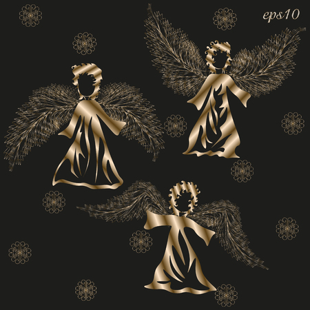 author: Three angels set Abstract holiday Christmas design author handmade metal foil is style gold wing feather snowflakes black curly dress eps10 vector illustration Stock
