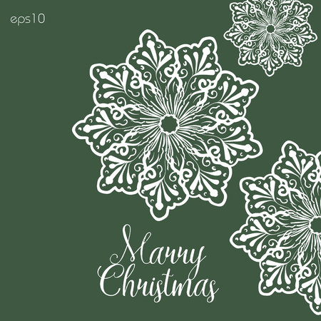 author: Large snowflake merry Christmas Author greeting Winter abstract handmade print postcard white crystal water illustration vektor text eps10 stock