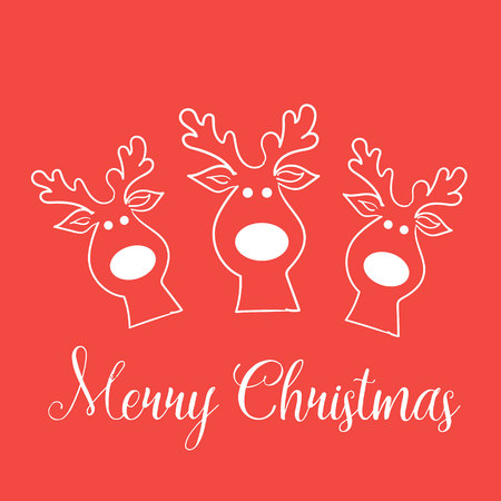author: Three funny moose pattern red Drawing author design seamless wallpaper texture animal antlers head cloven-hoofed merry white object background text eps10 vector illustration Stock