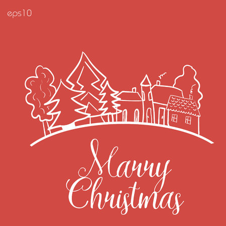 roof line: Home before Christmas Abstract design author sign postcard landscape trees primitive style roof window building manor line white graphics text eps10 vector illustration Stock