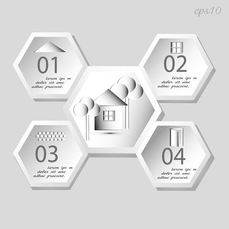 author: Infographics home sweet home Information booklet business author design the hexagon five window wood brick manor text shadow door a visual aid chart eps10 vector illustration Stock