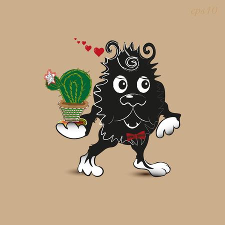shaggy: In Love Monster Greeting Postcard animal cactus good gift eye paw shaggy beast author work handmade cartoon style shadow nose ear eps10 Valentine heart illustration Stock vector Illustration