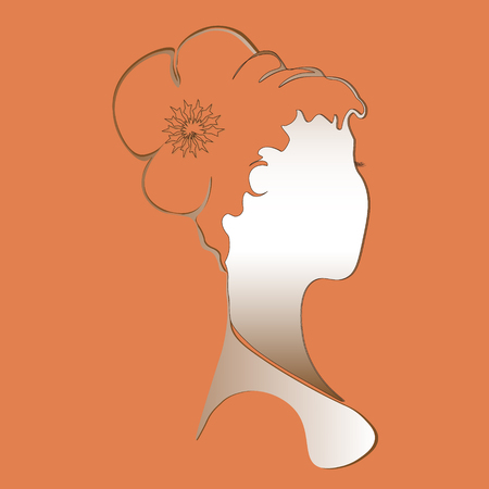 fullface: Young woman bust Drawing abstract author idea print design girl hairstyle a fullface style silhouette pattern handmade decoration eps10 vector illustration Stock